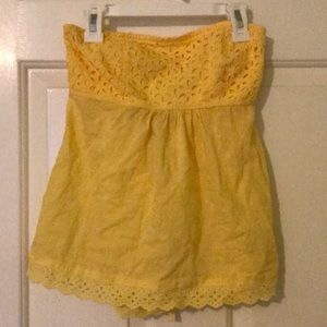 Yellow strapless top size small